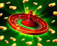 Casino roulette big win coins background. Casino roulette big win coins on the green background. Vector illustration Stock Images