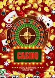 Casino roulette, cards, chips, dice. Gambling game. Casino roulette surrounded with 3d vector chips, poker playing cards and dice, golden dollar coins and vector illustration