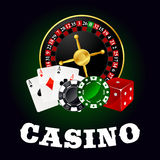 Casino roulette, cards, game chips and dice Royalty Free Stock Photos