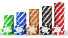 Casino or roulette chip stacks over white Royalty Free Stock Photos