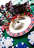 Casino - Roulette & Chips Stock Images