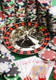 Casino - Roulette & Chips Royalty Free Stock Photos