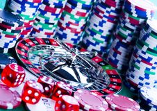 Casino - Roulette & Chips Royalty Free Stock Images
