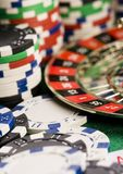 Casino - Roulette & Chips Stock Photography