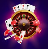 Casino roulette with chips, coins and red dice realistic gambling poster banner. Casino vegas fortune roulette wheel design flyer.  stock illustration