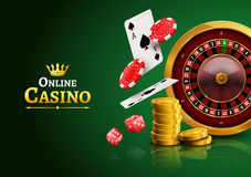 Casino roulette with chips, coins and red dice realistic gambling poster banner. Casino vegas fortune roulette wheel design flyer.  royalty free illustration