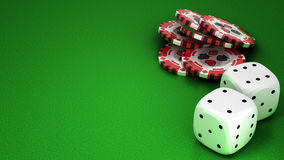 Casino or roulette chips and dies over green Royalty Free Stock Image