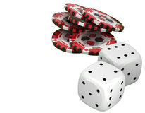 Casino or roulette chips and dies over white Stock Photography