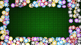 Casino or roulette chips frame on green table vector illustration