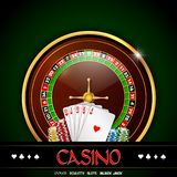 Casino roulette with chips and playing cards on green background. Illustration of Casino roulette with chips and playing cards on green background Stock Images