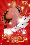 Casino roulette with chips, red dice and pretty girl. royalty free illustration