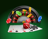 Casino roulette with chips, red dice realistic gambling poster banner. Casino vegas fortune roulette wheel design flyer Royalty Free Stock Image