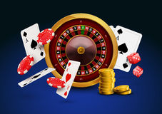 Casino roulette with chips, red dice realistic gambling poster banner. Casino vegas fortune roulette wheel design flyer.  Royalty Free Stock Photo