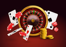 Casino roulette with chips, red dice realistic gambling poster banner. Casino vegas fortune roulette wheel design flyer.  Stock Photography