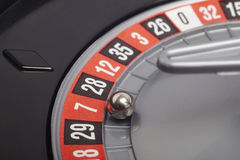 Casino roulette detail with ball in number seven. Gambling Stock Photos