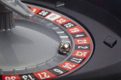 Casino roulette detail with ball in number twenty-five. Gambling Royalty Free Stock Photos