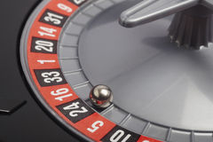 Casino roulette detail with ball in number twenty four. Gambling Stock Photo