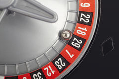 Casino roulette detail with ball in number twenty-nine. Gambling Royalty Free Stock Photos
