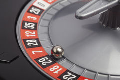 Casino roulette detail with ball in number twenty nine. Gambling Royalty Free Stock Photos