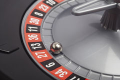 Casino roulette detail with ball in number twenty seven. Gamblin. G. Horizontal Royalty Free Stock Image