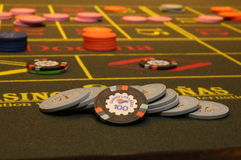 Casino. Roulette, hand betting chips Stock Images