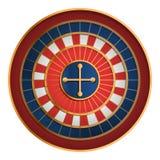 Casino roulette icon, cartoon style vector illustration