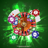 Casino Roulette Playing Cards Falling Chips. Vector Stock Images