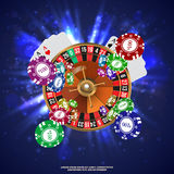 Casino Roulette Playing Cards Falling Chips. Vector Royalty Free Stock Image