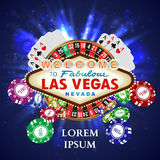 Casino Roulette Playing Cards witn Falling Chips Stock Image
