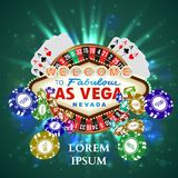 Casino Roulette Playing Cards witn Falling Chips Stock Photos