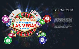 Casino Roulette Playing Cards witn Falling Chips Stock Photography
