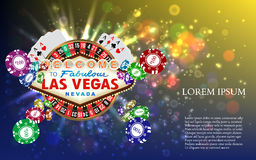 Casino Roulette Playing Cards witn Falling Chips Royalty Free Stock Image