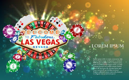 Casino Roulette Playing Cards witn Falling Chips Royalty Free Stock Photos