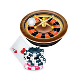 Casino roulette and poker chips with ace card Stock Photography