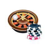 Casino roulette with poker chips  Stock Image