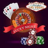Casino. Roulette with Red Ribbon Lucky night Stock Photo