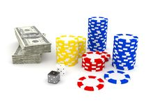 Casino Roulette's chips Stock Image