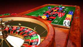 Casino Roulette Table. With Winning Number 7 royalty free illustration