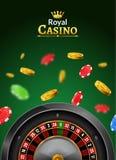 Casino roulette vector wheel poker backgorund. Casino game table roulette online banner jackpot invitaion.  vector illustration