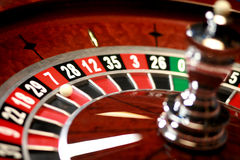 Casino roulette weel. Casino roulette wheel with small ball Royalty Free Stock Photography
