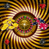 Casino  with roulette wheel Royalty Free Stock Image