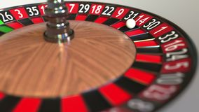 Casino roulette wheel ball hits 14 fourteen red. 3D rendering. Casino roulette wheel and ball 3D vector illustration