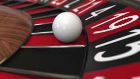 Casino roulette wheel ball hits 19 nineteen red 3D rendering. Casino roulette wheel ball hits 19 nineteen, close-up shot Royalty Free Stock Images