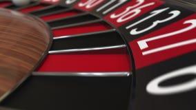 Casino roulette wheel ball hits 10 ten black