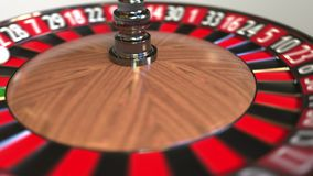 Casino roulette wheel ball hits 35 thirty-five black. 3D animation stock video footage