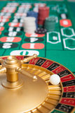 Casino roulette wheel with the ball on number 7 Stock Image