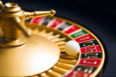 Casino roulette wheel with the ball on number 36 Stock Photography