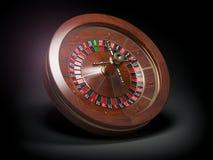 Casino roulette wheel on black background. 3d illustration Stock Image