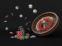 Casino roulette wheel chips isolated on black. Casino game 3D chips. Online casino banner. Black realistic casino chip royalty free stock photography