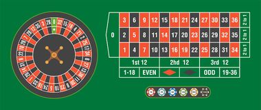 Casino roulette wheel with casino chips on green table Royalty Free Stock Images